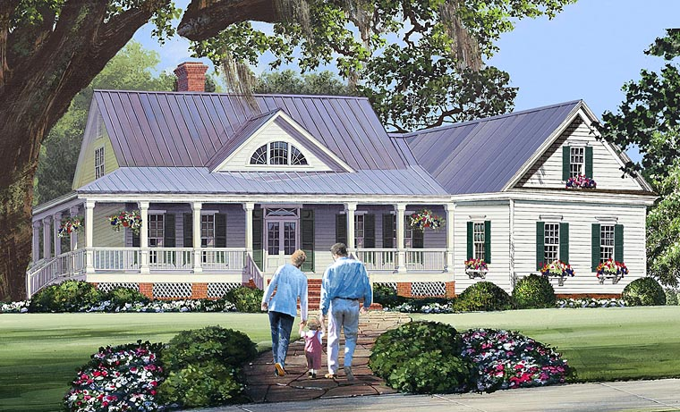 Country, Farmhouse, Southern House Plan 86344 with 3 Beds, 3 Baths, 2 Car Garage Front Elevation