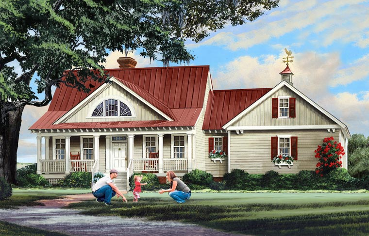 Country, Ranch, Southern House Plan 86347 with 4 Beds, 4 Baths, 2 Car Garage Elevation