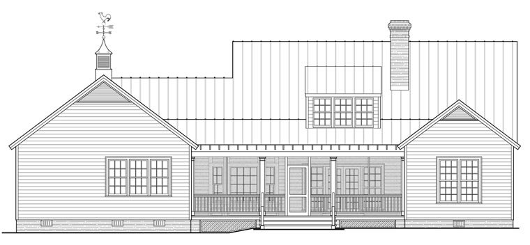 Country, Ranch, Southern House Plan 86347 with 4 Beds, 4 Baths, 2 Car Garage Rear Elevation