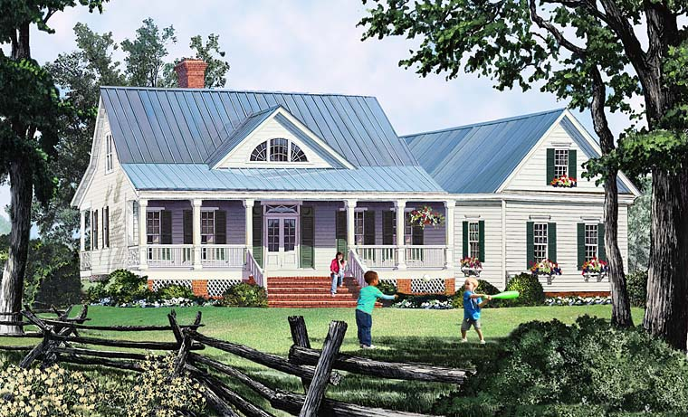 Country, Southern, Traditional House Plan 86349 with 3 Beds, 3 Baths, 2 Car Garage Elevation