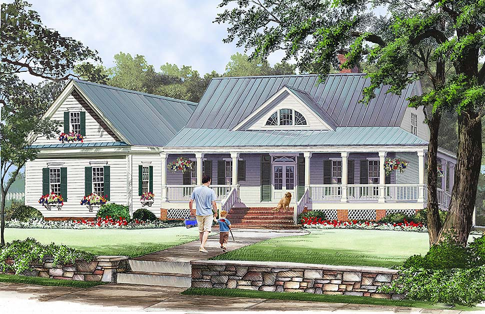 Cottage, Country, Farmhouse, Southern House Plan 86351 with 3 Beds, 3 Baths, 2 Car Garage Front Elevation