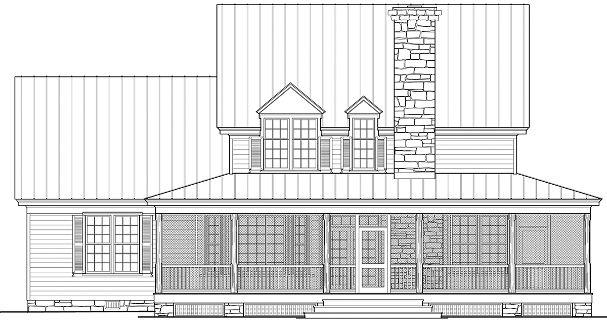 Cottage, Country, Southern House Plan 86355 with 4 Beds, 4 Baths, 2 Car Garage Rear Elevation