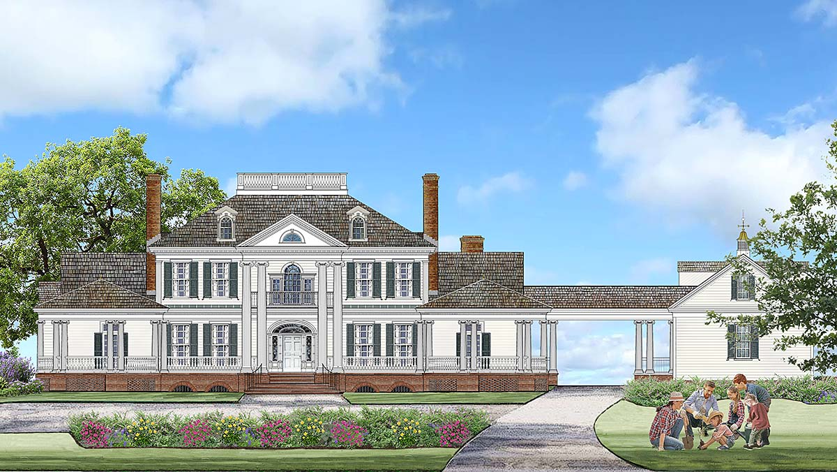 Colonial, Country, Plantation, Southern House Plan 86356 with 5 Beds, 6 Baths, 3 Car Garage Elevation