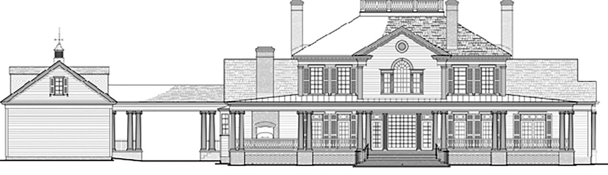 Colonial, Country, Plantation, Southern House Plan 86356 with 5 Beds, 6 Baths, 3 Car Garage Rear Elevation