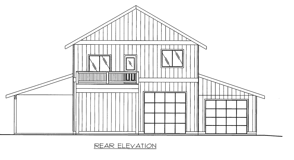 Contemporary, Farmhouse 5 Car Garage Apartment Plan 86568 with 2 Beds, 3 Baths Rear Elevation