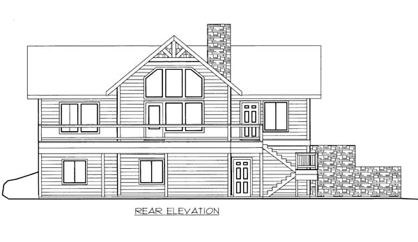 House Plan 86569 with 3 Beds, 3 Baths, 2 Car Garage Rear Elevation