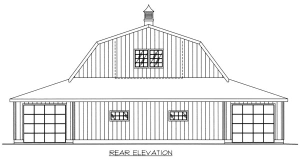 6 Car Garage Plan 86889 Rear Elevation