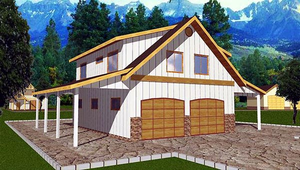 4 Car Garage Apartment Plan 86898 with 2 Beds, 1 Baths Front Elevation
