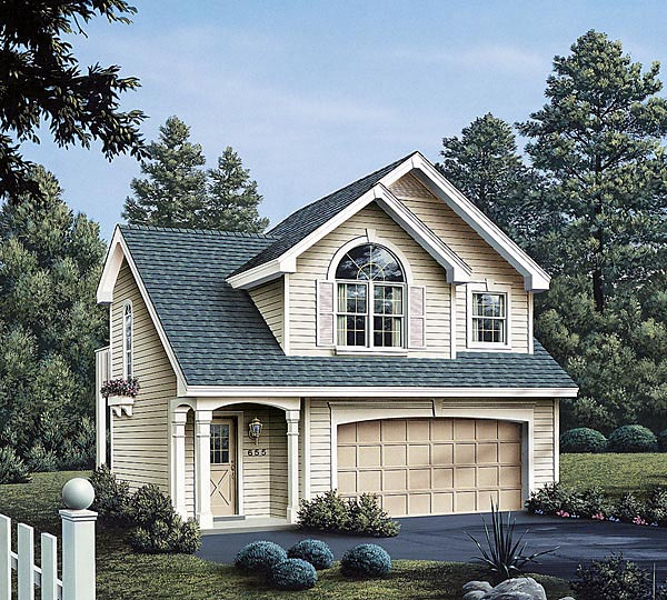 Country, European, Traditional 2 Car Garage Apartment Plan 86903 with 1 Beds, 1 Baths Front Elevation