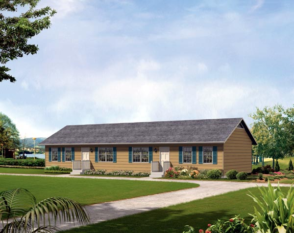 Ranch Multi-Family Plan 86926 with 2 Beds, 1 Baths Elevation