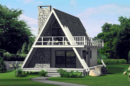 A-Frame, Contemporary, Retro House Plan 86950 with 3 Beds, 2 Baths Elevation