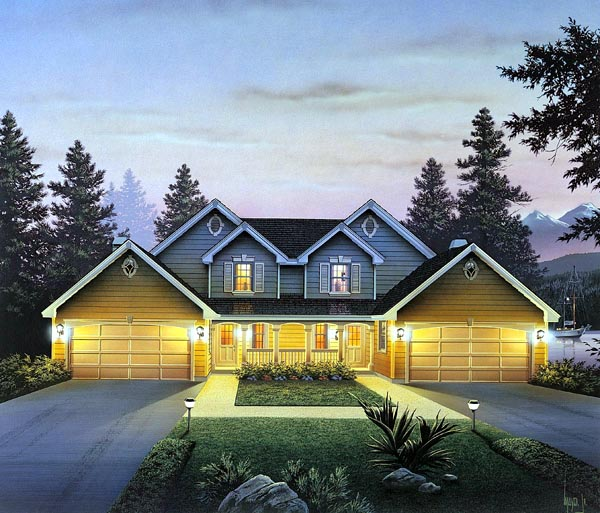Country, Traditional Multi-Family Plan 86954 with 6 Beds, 6 Baths, 4 Car Garage Front Elevation