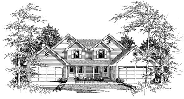 Country, Traditional Multi-Family Plan 86954 with 6 Beds, 6 Baths, 4 Car Garage Picture 3