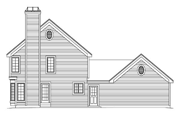 Traditional House Plan 86956 with 5 Beds, 3 Baths, 2 Car Garage Rear Elevation