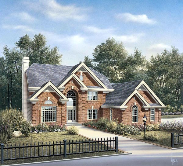 Traditional House Plan 86963 with 4 Beds, 4 Baths, 1 Car Garage Elevation