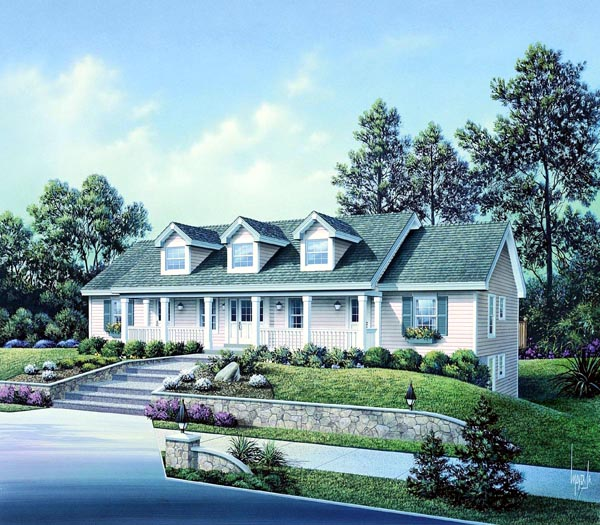 Cape Cod, Country, Ranch Multi-Family Plan 86977 with 5 Beds, 5 Baths Elevation
