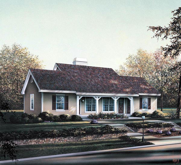 Cabin, Cottage, Country, Ranch, Traditional Multi-Family Plan 86978 with 2 Beds, 2 Baths Front Elevation