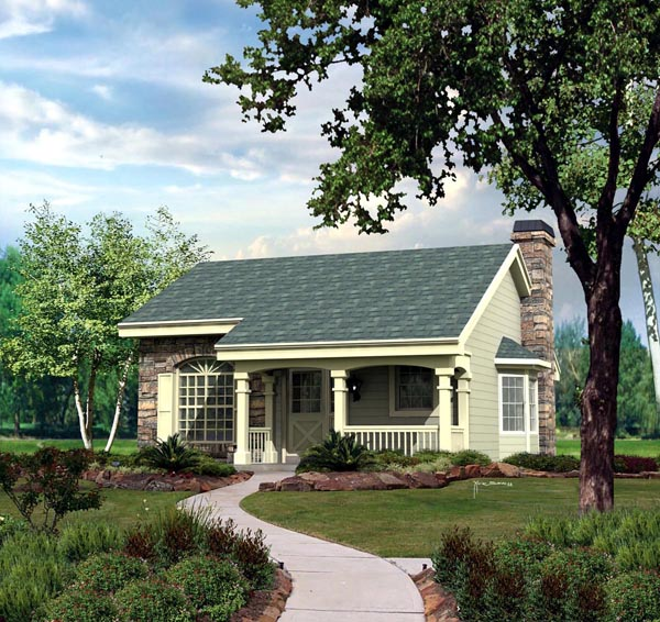 Cabin, Cottage, Country, Ranch House Plan 86987 with 2 Beds, 1 Baths, 1 Car Garage Elevation