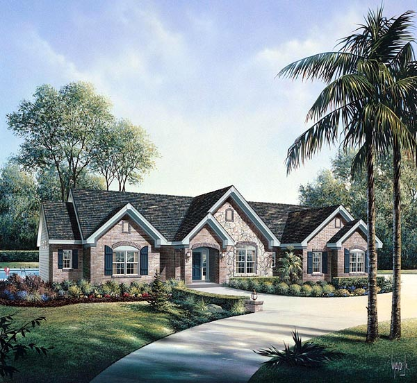 Retro, Traditional House Plan 86997 with 3 Beds, 3 Baths, 2 Car Garage Elevation