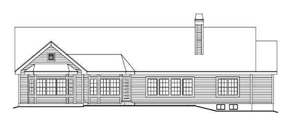 Retro, Traditional House Plan 86997 with 3 Beds, 3 Baths, 2 Car Garage Rear Elevation