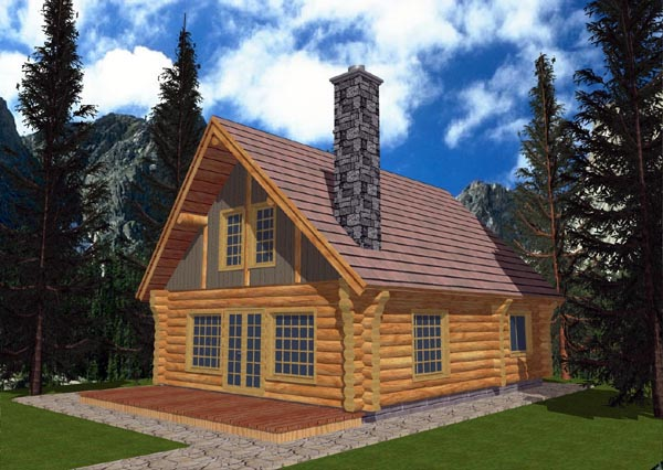 Log House Plan 87006 with 1 Beds, 1 Baths Elevation