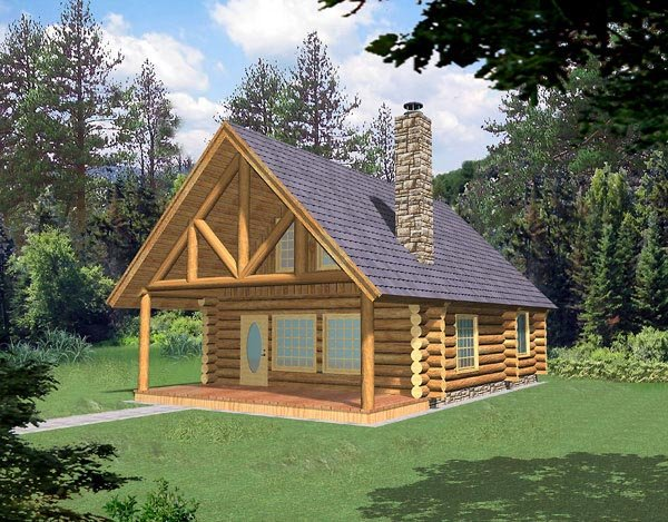 Log House Plan 87028 with 1 Beds, 1 Baths Elevation