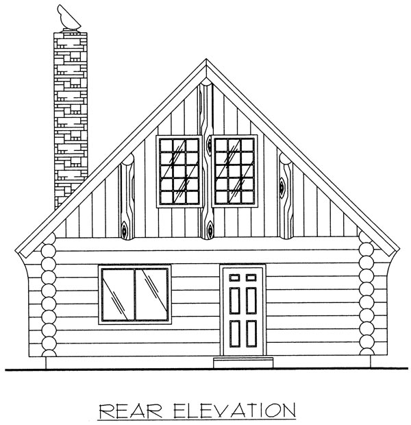 Log House Plan 87028 with 1 Beds, 1 Baths Rear Elevation