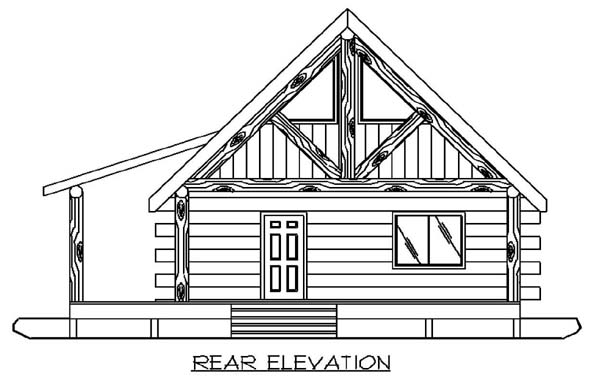 Log House Plan 87050 with 1 Beds, 1 Baths Rear Elevation