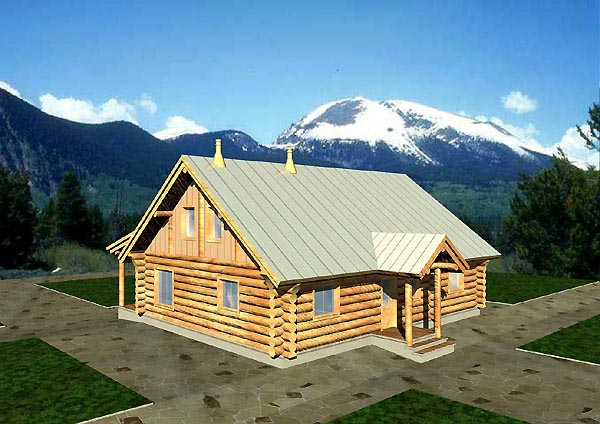 Log House Plan 87060 with 2 Beds, 1 Baths Elevation