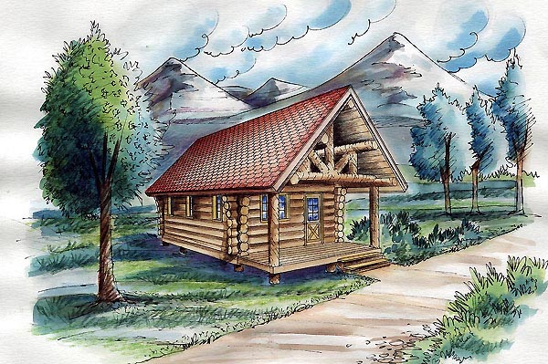 Cabin, Log House Plan 87063 with 1 Beds Front Elevation