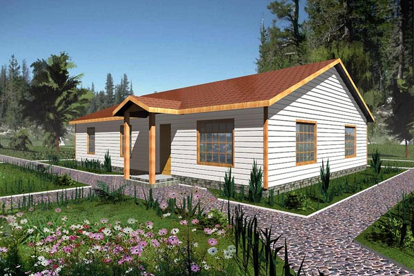Ranch House Plan 87093 with 3 Beds, 2 Baths Elevation