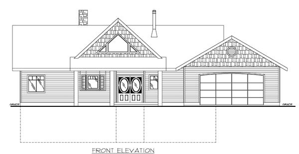 House Plan 87119 with 2 Beds, 3 Baths, 2 Car Garage Rear Elevation