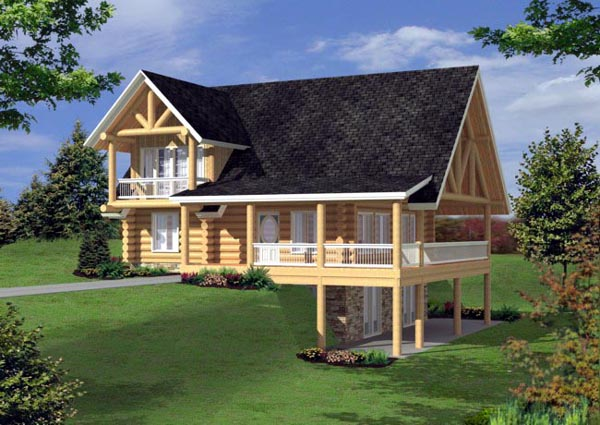 Log, Narrow Lot House Plan 87162 with 3 Beds, 3 Baths Front Elevation