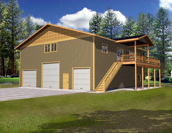 Traditional 3 Car Garage Apartment Plan 87186 with 3 Beds, 2 Baths, RV Storage Elevation