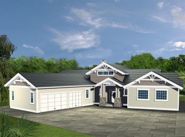 Contemporary, Traditional House Plan 87199 with 3 Beds, 3 Baths, 3 Car Garage Front Elevation