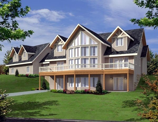 Contemporary House Plan 87204 with 3 Beds, 3 Baths, 2 Car Garage Front Elevation