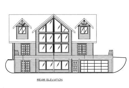 House Plan 87205 with 3 Beds, 3 Baths Rear Elevation