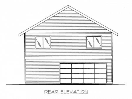Contemporary House Plan 87228 with 2 Beds, 2 Baths, 2 Car Garage Rear Elevation