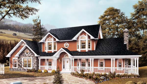 Farmhouse House Plan 87309 with 5 Beds, 4 Baths, 2 Car Garage Elevation