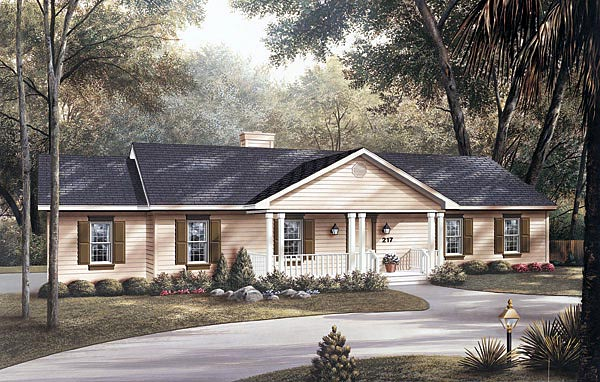 Ranch House Plan 87323 with 3 Beds, 2 Baths, 2 Car Garage Elevation