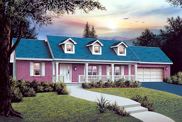 Ranch House Plan 87375 with 3 Beds, 2 Baths, 2 Car Garage Elevation