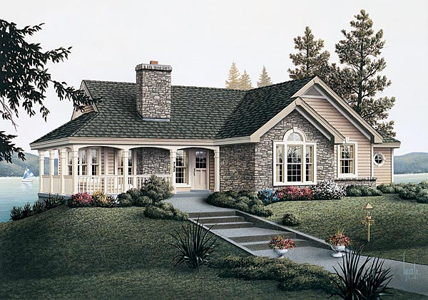 Country House Plan 87381 with 2 Beds, 2 Baths, 1 Car Garage Elevation