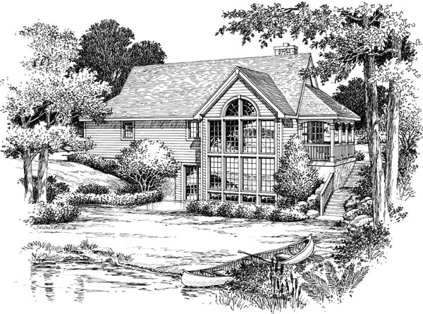 Country House Plan 87381 with 2 Beds, 2 Baths, 1 Car Garage Rear Elevation