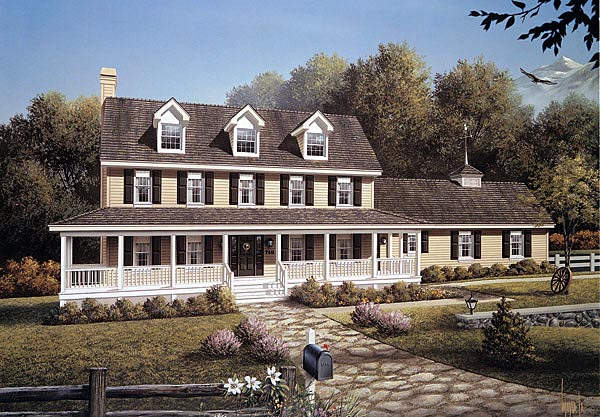 Farmhouse House Plan 87388 with 4 Beds, 3 Baths, 2 Car Garage Elevation