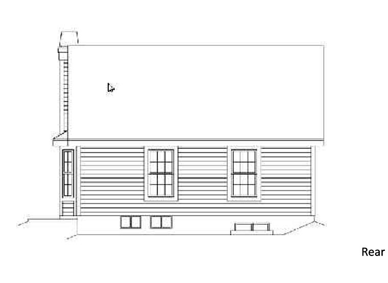 Country House Plan 87392 with 3 Beds, 2 Baths Rear Elevation