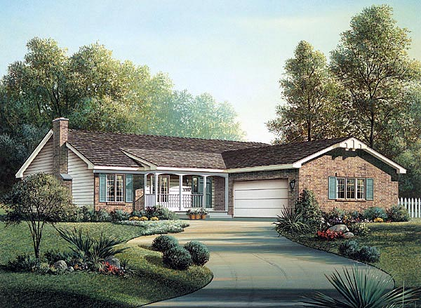 Ranch House Plan 87393 with 3 Beds, 2 Baths, 2 Car Garage Front Elevation
