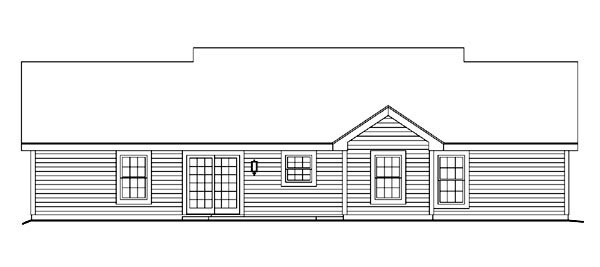 Cape Cod, Country, Ranch House Plan 87398 with 3 Beds, 2 Baths, 1 Car Garage Rear Elevation