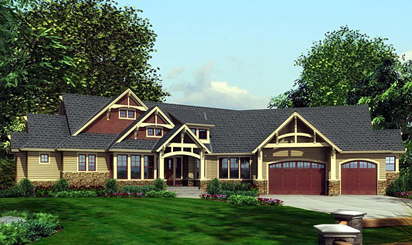 Craftsman House Plan 87400 with 3 Beds, 3 Baths, 3 Car Garage Elevation