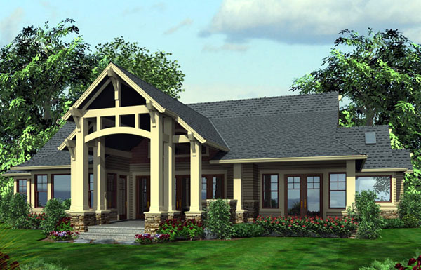 Craftsman House Plan 87400 with 3 Beds, 3 Baths, 3 Car Garage Rear Elevation