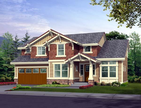Craftsman House Plan 87431 with 3 Beds, 3 Baths, 2 Car Garage Front Elevation